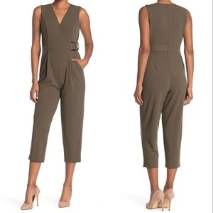 Calvin Klein Surplus Buckle olive Green belted cropped jumpsuit with pockets new